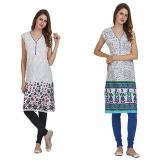 Miavii Multicolor Cotton V-Neck Sleeveless Printed Kurti (Pack Of 2)