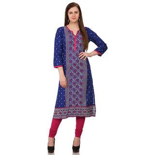 Sabhyata WomenS Cotton 3/4 Sleeve Straight Kurta (Royal Blue)