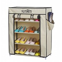 YUTIRITI Fancy 4 Layer Cream Portable Multipurpose Waterproof Fabric Shoe Rack Cabinate - 23 x 11 x 29 Inch