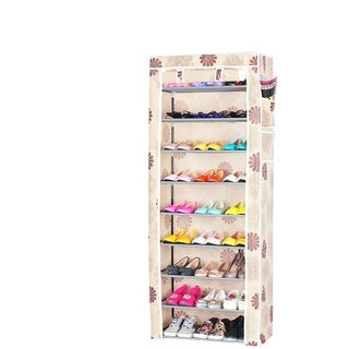 Evana Nine Layer Flower Print Shoe Rack/Shoe Shelf/Shoe Cabinet,Easy Installation Stand For Shoes-Multicolor