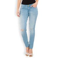 Tokyo Talkies Navy Blue Cotton Lycra Skinny Fit Mid Waist Jeans For Women