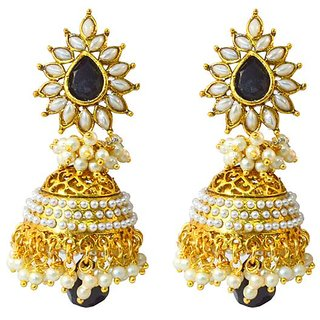 Aashiqui 2 Earrings ... In Gold And Black Combination Po603 By Vastardijewels 1