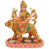 Papilon Hand Made Gold Plated Hindu Goddess Kamal Durga Maa Statue (Spiritual Idols) Dimension- 15915 Inches