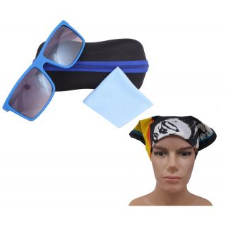Square Fashion Blue White Sunglass For Men With Headwrap