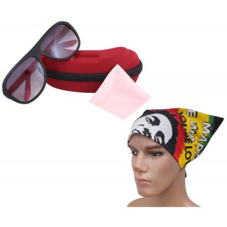 Ridding Style Black Red Sunglass For Men With Headwrap