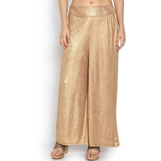 Klick2Style Solid Golden Shimmer Palazzo