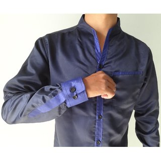 WINGS Mens Party Wear Shirts Satin Navy Blue