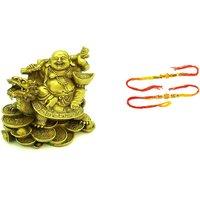 Dragon Buddha With  Free 2pcs Rakhi (assorted Design) Best Rakhi Gift For Brother  Sister