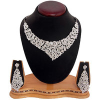 Sukkhi Youthful Rhodium Plated AD Stone Necklace Set with Earrings 1001V