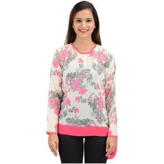 Timbre Women Stylish Party Wear Designer Floral Top Full Sleeves Georgette Fabric