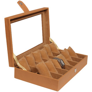 Leather World Classic Beige PU Leather Watch Box for 12 Watches
