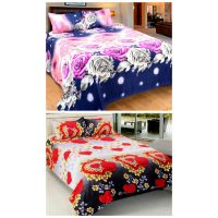 Home Castle 3D Printed 2 Double Bedsheet With 4 Pillow Covers (BUY 1 GET 1 FREE)