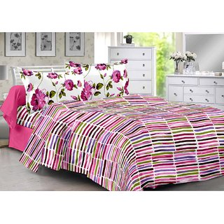 Valtellina Pink  Stripes Design Herbal Cotton Double Bedsheet with 2 CONTRAST Pillow Cover-Best TC-175