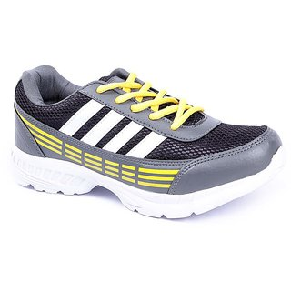 Foot 'n' Style Comfortable Grey & Yellow Sports Shoes (fs442)