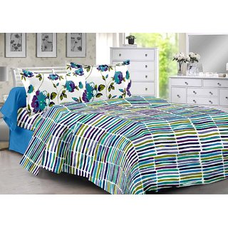 Valtellina Blue  Stripes Design Eco-Friendly Cotton Double Bedsheet with 2 CONTRAST Pillow Cover-Best TC-175