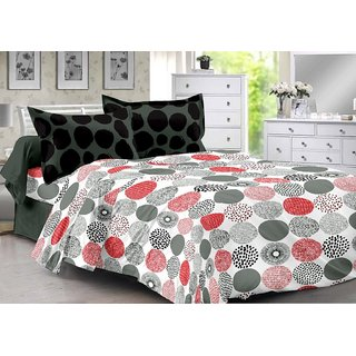 Valtellina Black  Polka Design Super Soft Cotton Double Bedsheet with 2 CONTRAST Pillow Cover-Best TC-175