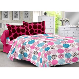 Valtellina Pink  Polka Design Herbal Cotton Double Bedsheet with 2 CONTRAST Pillow Cover-Best TC-175