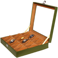 Leather World Trendy Green PU Leather Watch Box for 18 Watches
