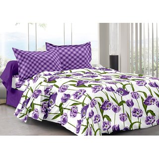 Valtellina Purple  Floral Design Color Fastness Cotton Double Bedsheet with 2 CONTRAST Pillow Cover-Best TC-175