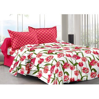 Valtellina Red  Floral Design Eco-Friendly Cotton Double Bedsheet with 2 CONTRAST Pillow Cover-Best TC-175
