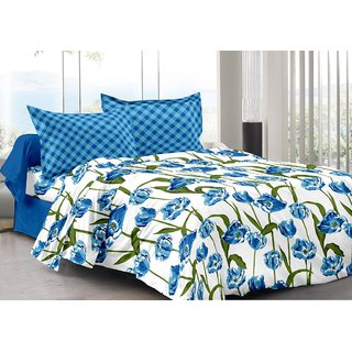 Valtellina Blue  Floral Design 100 Organic Double Bedsheet with 2 CONTRAST Pillow Cover-Best TC-175