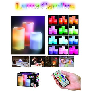 Everything Imported TM Luma Candles Real Wax Flameless Candles 3 LED Candles Plus Remote Control Timer