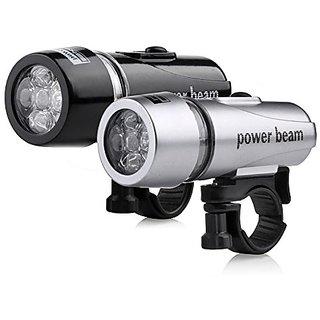 FurMito 2 PC Black / Silver - Bike Bicycle 5 LED Power Beam