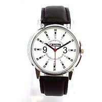 Lotto White Dial Black Leather Strap Analog Wrist Watch-Mens