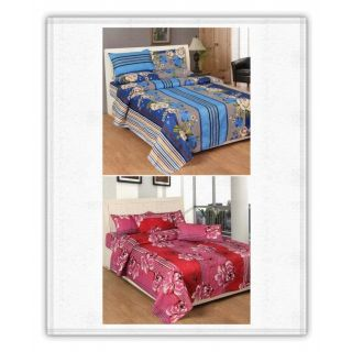 Set Of 2 Printed Double Bed Sheets With 4 Pillow Covers