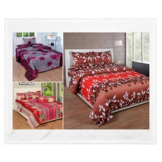 Set Of 3 Printed Double Bed Sheets With 6 Pillow Covers