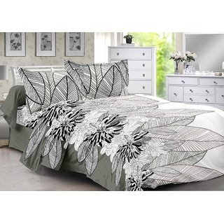 Valtellina Grey  Floral Design 100 Cotton Double Bedsheet with 2 CONTRAST Pillow Cover-Best TC-175
