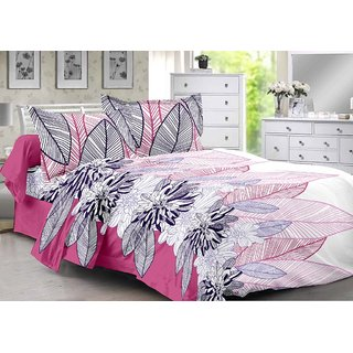 Valtellina Pink  Floral Design Herbal Cotton Double Bedsheet with 2 CONTRAST Pillow Cover-Best TC-175