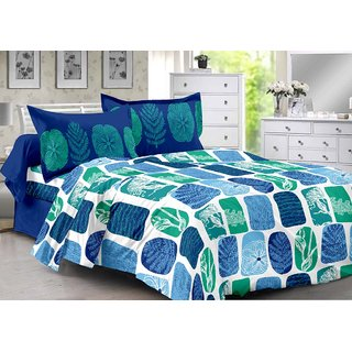 Valtellina Blue  Natural Design Herbal Cotton Double Bedsheet with 2 CONTRAST Pillow Cover-Best TC-175