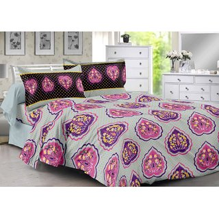Valtellina Grey  Floral Design Super Soft Feeling Double Bedsheet with 2 CONTRAST Pillow Cover-Best TC-175