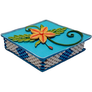Handmade Paper quilling designer jewelry green box  with flowers