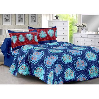 Valtellina Blue  Floral Design Super Soft Cotton Double Bedsheet with 2 CONTRAST Pillow Cover-Best TC-175