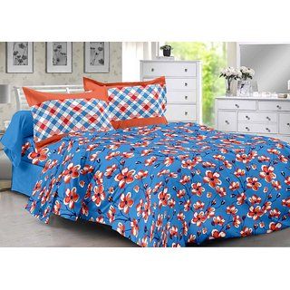 Valtellina Blue  Floral Design 100 Cotton Double Bedsheet with 2 CONTRAST Pillow Cover-Best TC-175