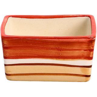 Dip and Sauce Serving Bowl Ceramic/Stoneware in Cream and Orange Studio (Set of 1) Handmade By Caffeine