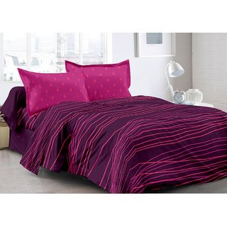 Valtellina Purple  Stripes Design Eco-Friendly Cotton Double Bedsheet with 2 CONTRAST Pillow Cover-Best TC-175