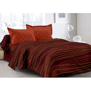 Valtellina Brown  Stripes Design 100 Organic Double Bedsheet with 2 CONTRAST Pillow Cover-Best TC-175