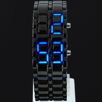 Black Samurai Steel Blue LED Digital Watch Cum Bracelet For Mens / Women