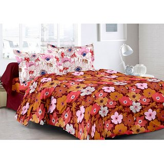 Valtellina Maroon  Floral Design Super Soft Cotton Double Bedsheet with 2 CONTRAST Pillow Cover-Best TC-175