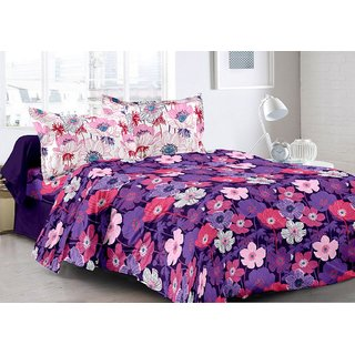 Valtellina Purple  Floral Design 100 Cotton Double Bedsheet with 2 CONTRAST Pillow Cover-Best TC-175