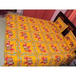 100 Cotton Premium Jaipuri Sanganeri Double Bed Sheet With 2 Pillow Covers