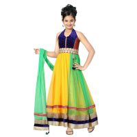 Aarika Self Design Net Fabric Party Wear Ball Gown with Inner