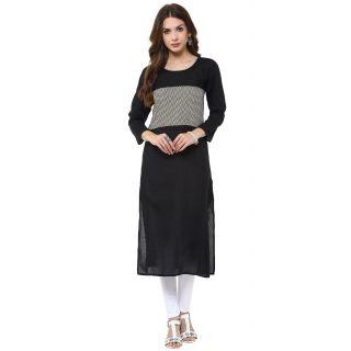 Janasya Black Printed Cotton Stitched Kurti