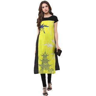 Janasya Womens Yellow Digital Printed Crepe Stitched Kurti JNE1122-YELLOW-KR-09-XL