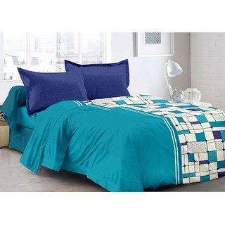 Valtellina Blue  Checkered Design 100 Organic Double Bedsheet with 2 CONTRAST Pillow Cover-Best TC-175