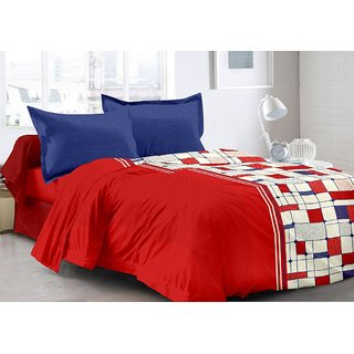 Valtellina Red  Checkered Design Super Soft Feeling Double Bedsheet with 2 CONTRAST Pillow Cover-Best TC-175