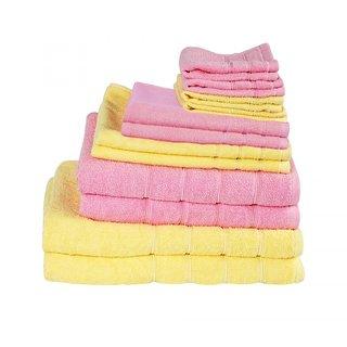 Magna 450 gsm Set of 6 Towels 2 Bath2 Hand2 FaceLEMONPINK class=